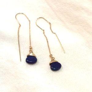 Lapis lazuli stones drops dangle gold earrings new